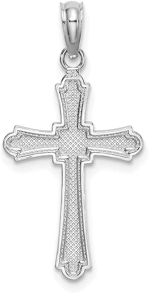 Jewelry Adviser Charms 14K White Gold Solid Satin Diamond-cut Initial S Charm