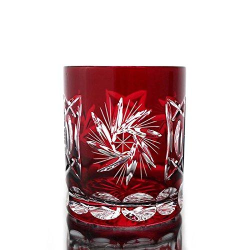 Whiskey glass ''Schleuderstern'' (280ml) red, lead crystal, modern style, glass (CRISTALICA KINGDOM powered by CRISTALICA)
