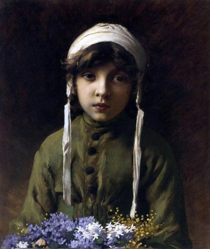 """Charles Sprague Pearce The Little Flower Girl - 16"""" x 20"""" Premium Canvas Print Gallery Wrapped"""