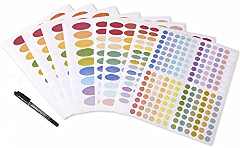 Color Coding Essential Oil Bottle Labels set, 8 sheet of 522 labels (Including 3 size Ovals, Round Circles, free thin (Essential Oil Stickers)