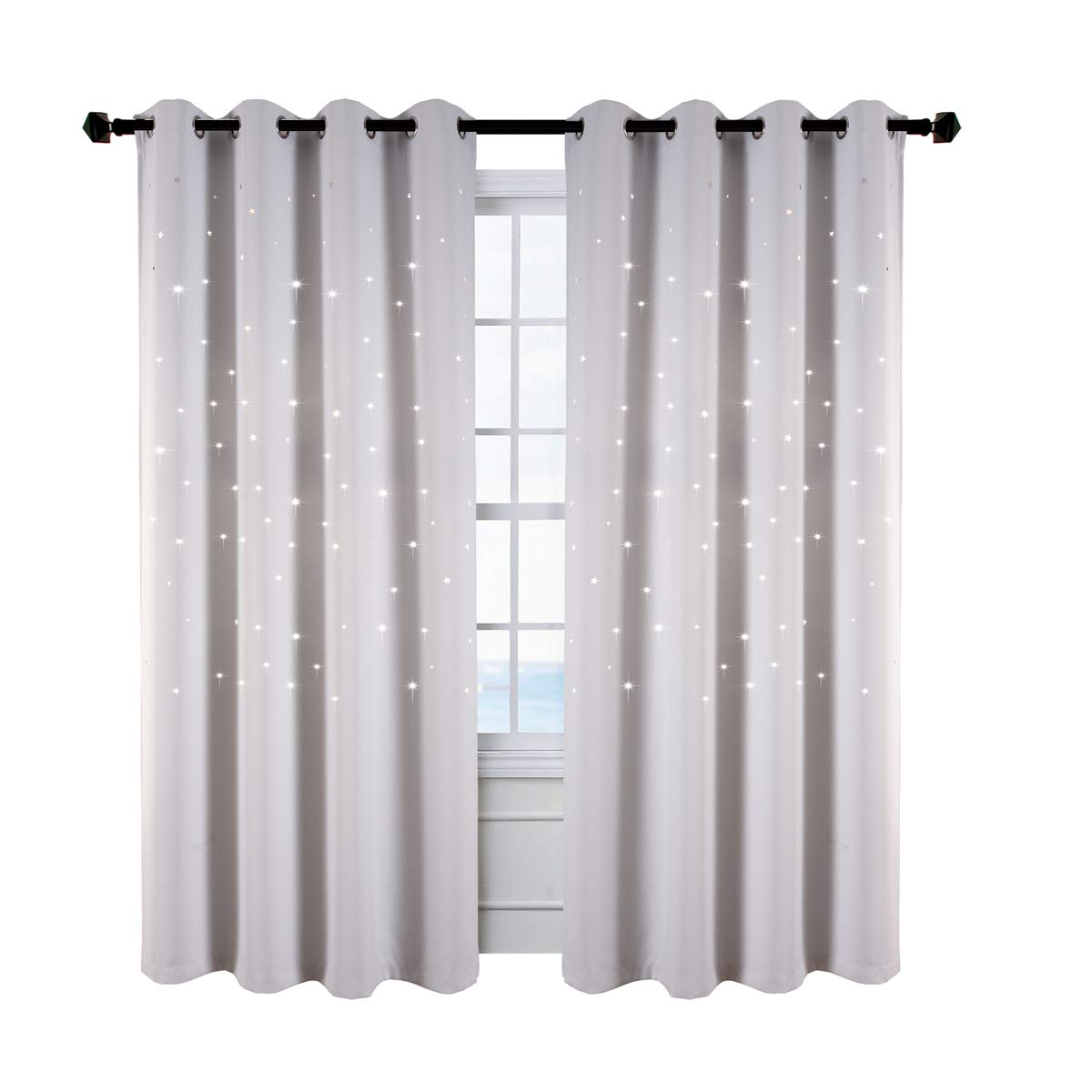 Perfect for/Baby Nursery Star Wars Themed Kids Room Blackout Curtains Kotile 2 Panels 63 Inch Length Grommet Thick and Soft Room Darkening Curtain with Laser Cutting Stars Royal Blue Ketaishi Textile
