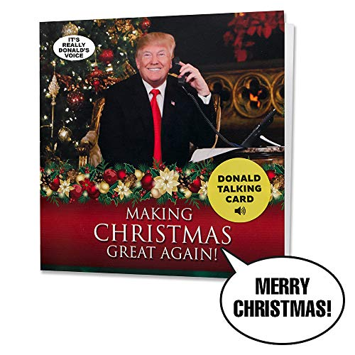 New 2018 Talking Trump Christmas Card - Wishes Merry Christmas in Donald Trump's REAL Voice - Surprise Someone with a Personal Holiday Greeting from the President of the United States - with Envelope
