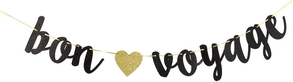 Bon Voyage Black Glitter Cursive Party Banner, Moving Away,Retirement Party Decorations Sign