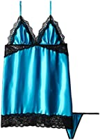 Seven Til Midnight Women's Enchanting Satin Chemise and Thong Two-Piece Set