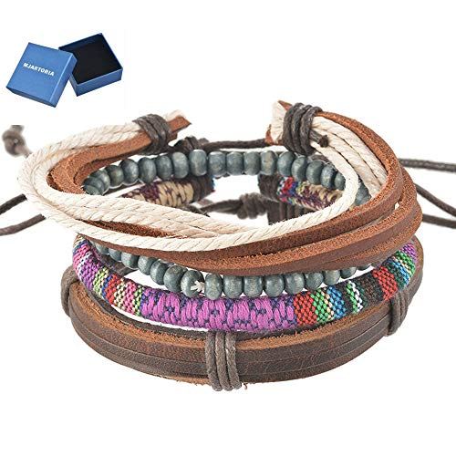 MJartoria Unisex PU Leather Hemp Cords Beaded Multi Color Strands Adjustable Wrap Bracelets Set of 4 -