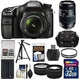 Sony Alpha A68 Digital SLR Camera & 18-55mm 70-300mm Lens + 32GB Card + Battery + Case + Tripod + Filters + Tele/Wide Lens Kit