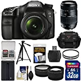 Sony Alpha A68 Digital SLR Camera & 18-55mm with 70-300mm Lens + 32GB Card + Battery + Case + Tripod + Filters + Tele/Wide Lens Kit