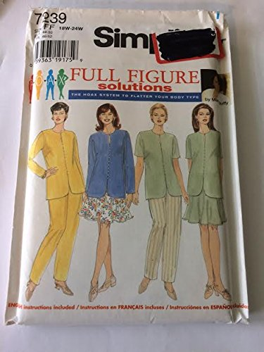Simplicity 7239 Sewing Pattern, Women's Top, Pants and Six Gore Skirt, Size FF (18W-24W)