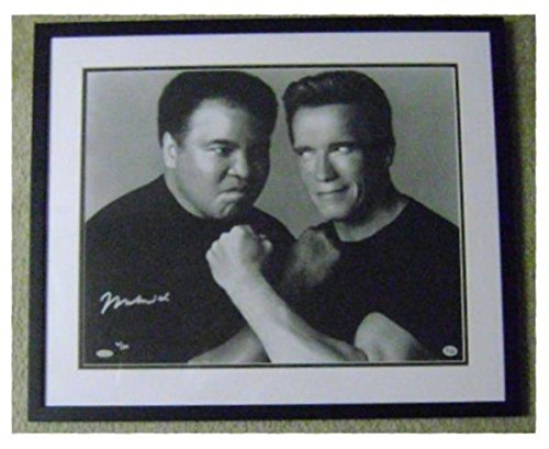 Muhammad Ali autographed 16x20 photo matted framed Boxing Legend Steiner Sports OLA authentication holograms pictured with Arnold Schwarzenegger