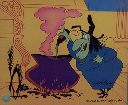 """Witch Hazel in Broomstick Bunny Warner Bros. Artwork. Ltd. Run Print Custom Matted to 8"""" x 10"""" from Looney Tunes"""