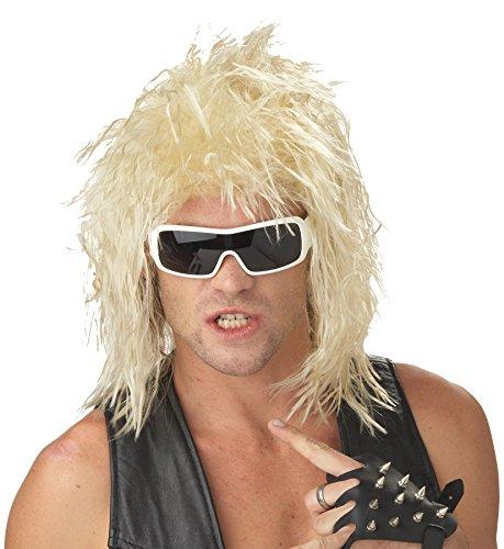 80s Hair Metal Costume (UHC Adult 80S Black Heavy Metal Rockin Blonde Wig Halloween Costume Accessory)