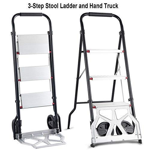Goplus 3 Step Ladder Hand Truck 2-in-1 Aluminum Folding Stool Ladder 330Lbs Heavy Duty Portable Cart Dolly 176Lbs with Two Wheels, Multi-Use for Household and Office