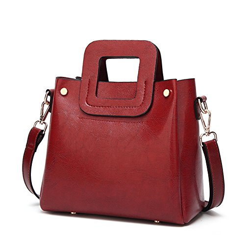 Sac à bandoulière pour femme, brun vintage, sacs à main avec une poignée rouge, noir