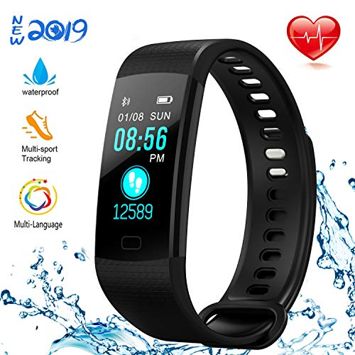 (NUHIWIY Fitness Tracker,Activity Tracker,Heart Rate Monitor,Waterproof Smart Watch,Calorie Counter,Sleep Monitor,Pedometer,Fitness Tracker for Women,Men,Kids,Multi-Language,Android and iOS,Bluetooth)