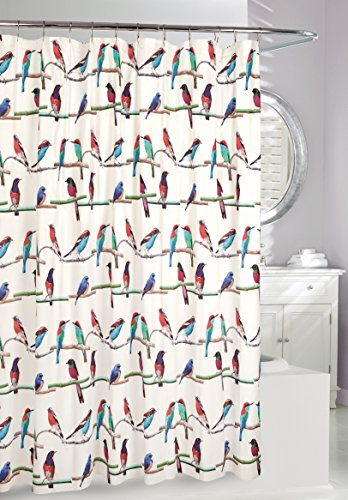 Moda At Home Inc 254620 Perched Birds PEVA Waterproof Shower Curtain, 70-Inch X 72-Inch, Multicolor (Birds Shower Curtain)