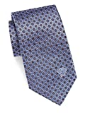 Versace Men's Medallion Print Italian Silk Tie, OS, Blue