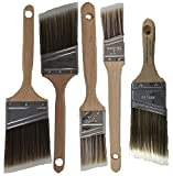 Pro-Grade Premium Wall/Trim House Paint Brush Set Great for Professional Painter and Home Owners Painting Brushes for Cabinet Decks Fences Interior Exterior & Commercial Paintbrush. (5Pk)