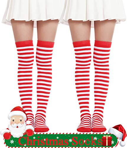 Thigh High Long sock Over Knee High Socks Striped Christmas Stockings Costume (2 Pairs Red White -