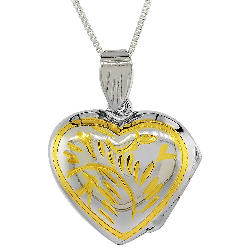 Two Tone Sterling Silver Heart Locket Pendant / Charm Engraved Handmade, 3/4 inch