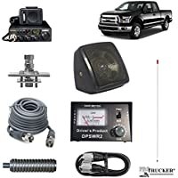 Pro Trucker Pickup CB Radio Kit Includes Radio, 4 Antenna, CB Antenna Mount, CB Coax, SWR Meter w/ Jumper Coax, Speaker, and Spring