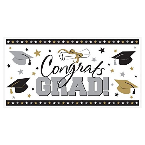 Amscan Large Grad Horizontal Black, Silver and Gold Graduation Party Banner Decoration, Plastic, 65