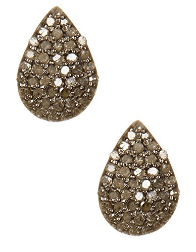 Champagne Diamond and Sterling Silver Teardrop Stud (Sterling Silver Teardrop Champagne)