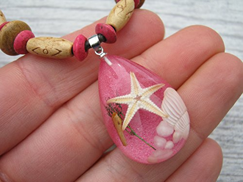 (Starfish Necklace, Real Pressed Beach Shell Pendant, Adjustable Tribal Necklace, Vegan Unisex Necklace, GLITTER PINK)