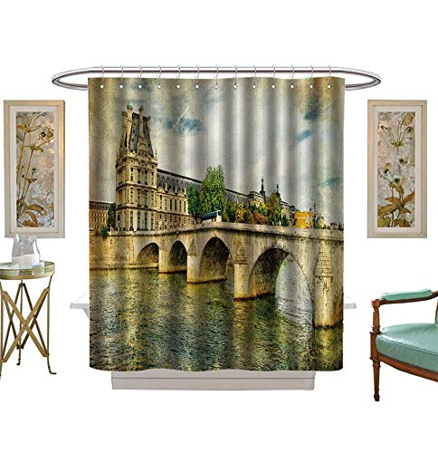 Shower Curtains 3D Digital Printing Vintage Parisian Cards Series Bathroom Set with Hooks Size:W69 x L70 ()