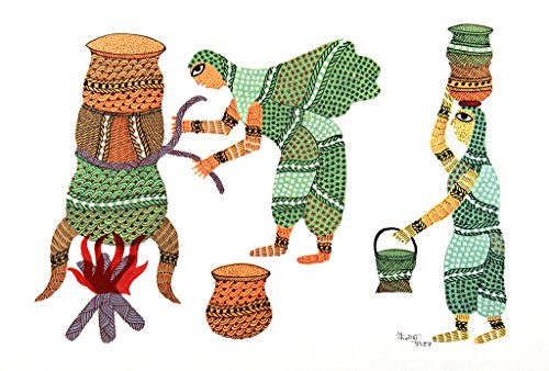 IMI 100% Hand Painted Gond Art Painting for Wall Décor on Handmade Paper, 14 X 10 Inches, Women Cooking Food)
