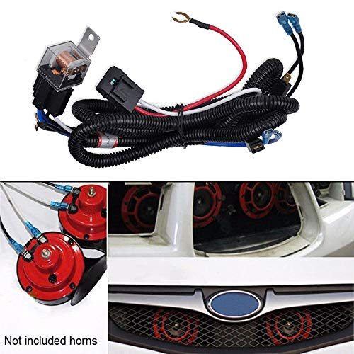 SIZZLEAUTO 12V Horn Wiring Harness Relay Kit for Car Truck Grille Mount Blast Tone Horns (Horns are not Included!)