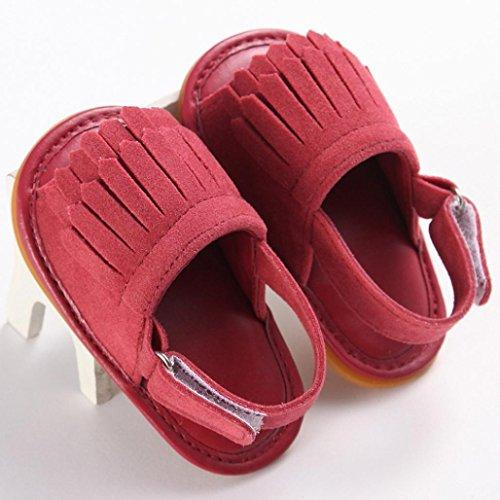 Hunpta Kleinkind Mädchen Krippe Schuhe Neugeborenen Blume weiche Sohle Anti-Rutsch-Baby Sneakers Sandalen Watermelon Red