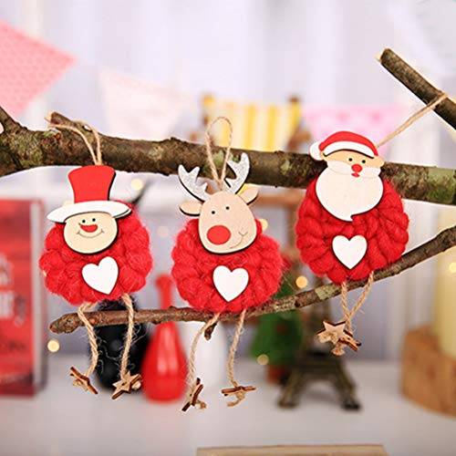 YAXAN Christmas Felt Cloth Doll Red White Old Man Snowman Elk Pendant Hanging Gift Decoration Wall Decor (Color : ()