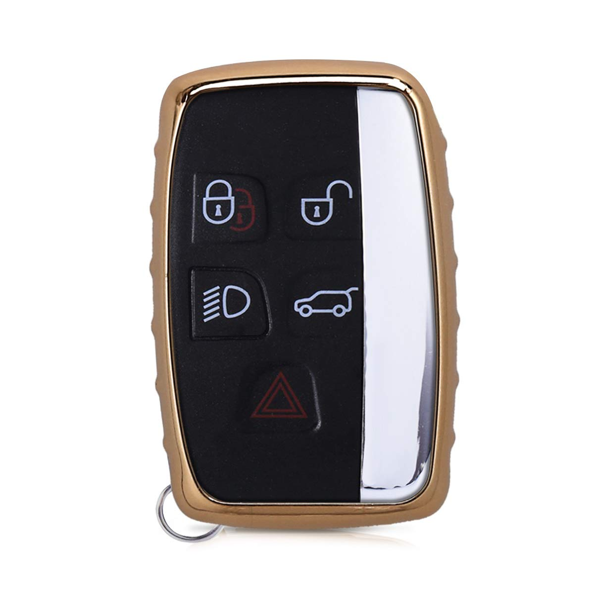 kwmobile Car Key Cover for Land Rover Jaguar Rose Gold High Gloss Soft TPU Silicone Protective Key Fob Cover for Land Rover Jaguar 5-Button Remote Car Key