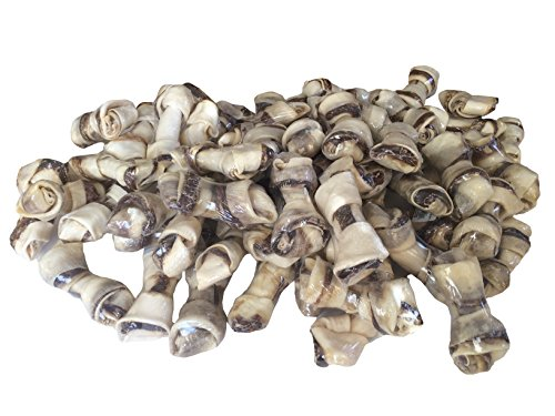 Beef and Rawhide Twister Bone | 4-5 '' Bone | 123 Treats (100 Count) by 123 Treats