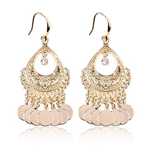 RIAH FASHION Bohemian Coin Dangle Chandelier Earrings - Lightweight Gypsy Filigree Hoops with Disc Charms (Gypsy Dangle 2 - Gold)
