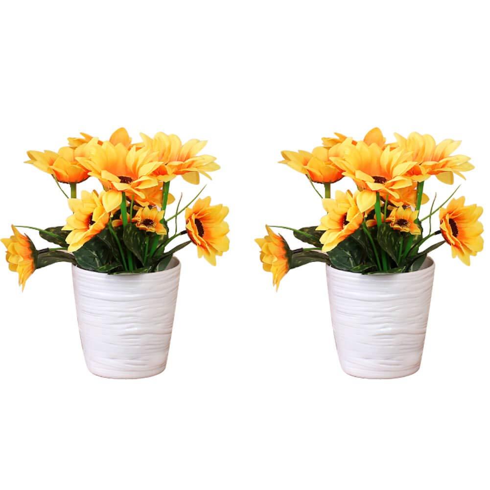 Serendipity 装飾的 モダン 人工鉢植物 人工多肉植物 装飾 S ひまわり 2個セット B07GCXCRJH