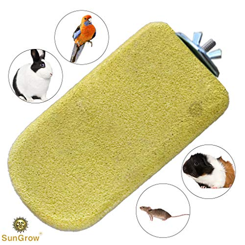 SunGrow Lava Ledge for Birds - Pumice Chew Toy - Complete Oral Care - Yellow Mineral Grinding Block to Trim Nails - Rock Perch for Chinchillas, Rabbits, Hamsters & Parrots - Easy Installation