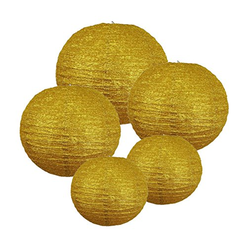 Just-Artifacts-GLITTER-GOLD-Paper-Lanterns-Assorted-2-8inch-2-12inch-1-16inch-Just-Artifacts-Brand