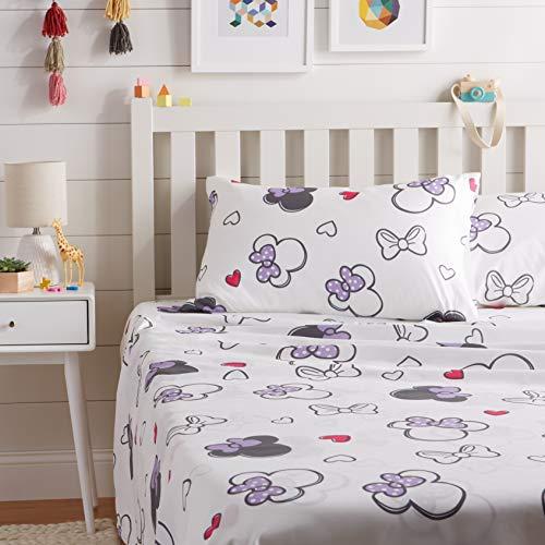 AmazonBasics by Disney Minnie Mouse Purple Love Sheet Set - Full