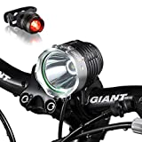 Night Eyes Brightest 1200 Lumens Rechargeable Bike Light, Mountain Bike headlamp -8.4V 6400mA Waterproof ABS Battery- Free Alumium Bike Taillight Bonus