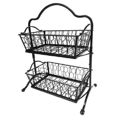 Two-Tier Chicken Wire Basket & Stand - Black Wrought - Basket Stand Iron Wrought
