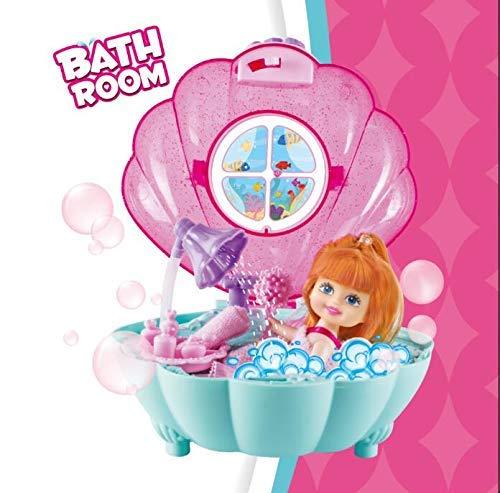 deAO Toy Mermaid-Tragetasche und 2-in-1-Badespielset mit Badzubeh/ör und Puppen