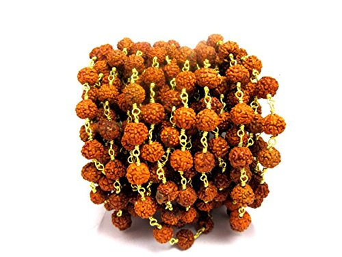 (3 feet Natural Rudraksha Seeds 6MM 24K Gold Plated Rosary Style Chain by BESTINBEADS, Rudraksha Seeds Chain by The Foot, Natural Rudraksha Jewelry Chain)