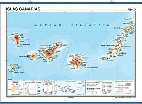 Islas Canarias Mapa Politico.Mapa Mural Islas Canarias Impreso A Doble Cara Fisico