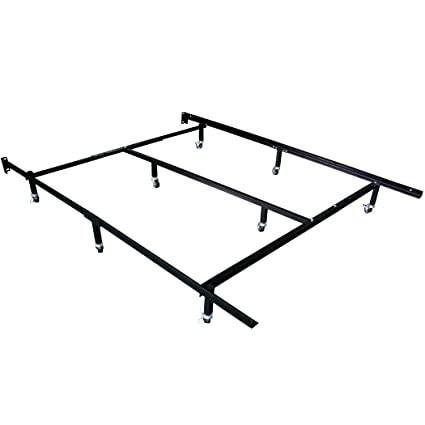 Amazon Com Smart 8 Wheel Metal Bed Frame 3 Adjustable Sizes Queen