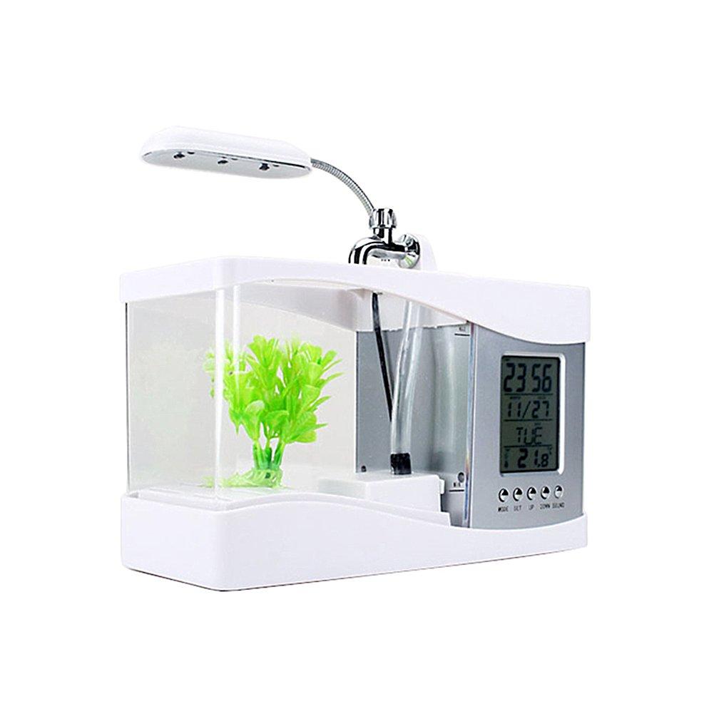 USB Desktop Aquarium LCD Mini Fish Tankd Displaying Calender Alarm Clock with Led Lamps for Desk Decoration(White) jannyshop