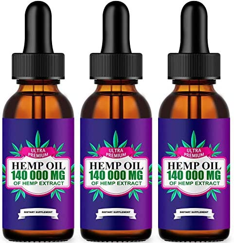 Natural Oil Extract 140 000mg Pain, Insomnia, Stress, Anxiety Relief, Natural Dietary Supplement, Premium Quality, Improve Health, Provides Relaxation, Deep Sleep, Mood Boost, Vegan-Friendly, 3-Pack