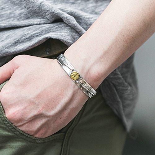 Daesar 925 Silver Bracelet For Men Opening Eagle Feathers Bracelet Silver by Daesar (Image #4)