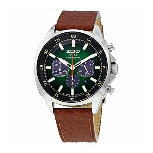 Seiko SSC513 Solar Chronograph Stainless Steel and Leather Watch (Brown)