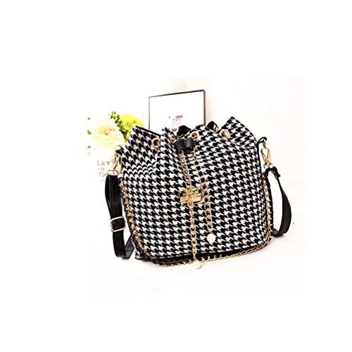LUOEM Kordelzug Eimer Tasche Handtaschen Klassische Schultertasche Geldbörsen Umhängetaschen für Frauen mit Pumpen Gürtel (Houndstooth)